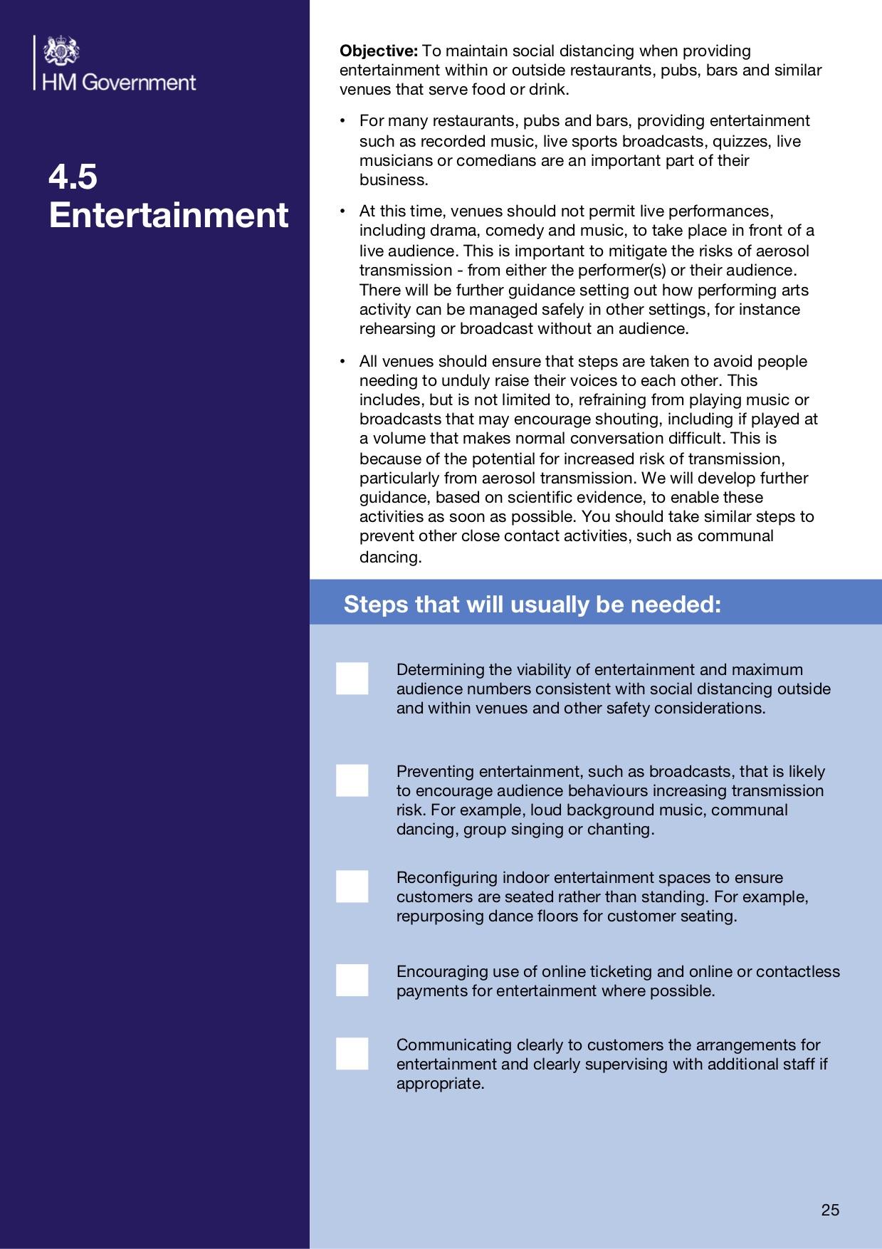 HM Government Section 4.5 Entertainment Covid-19 Coronavirus